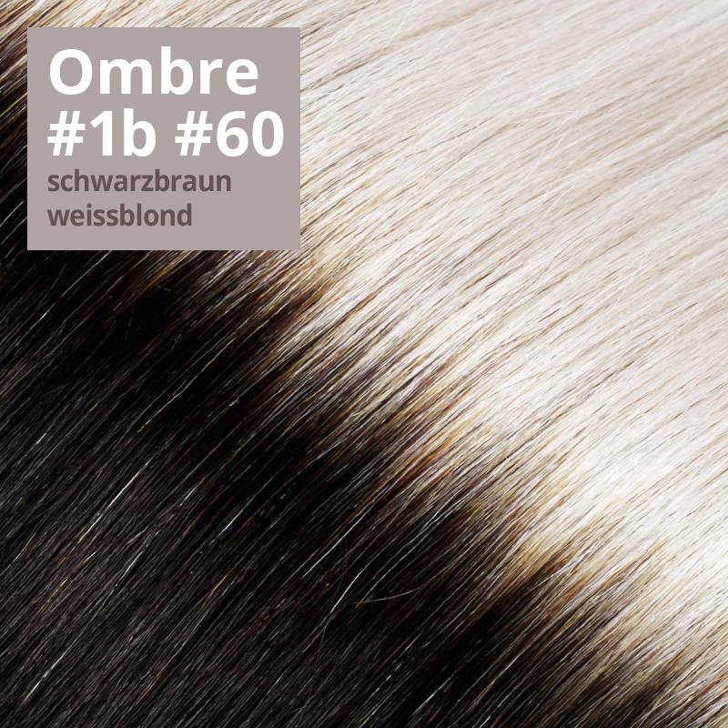 Extensions Farbe Ombrè schwarzbraun weißblond