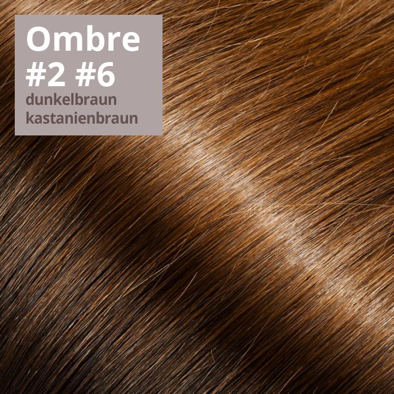 Extensions Farbe Ombrè dunkelbraun kastanienbraun