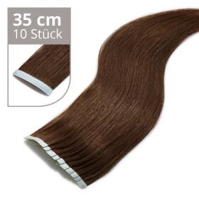 Tape On Extensions 35cm Länge SkinWeft -glatt- #2 dunkelbraun