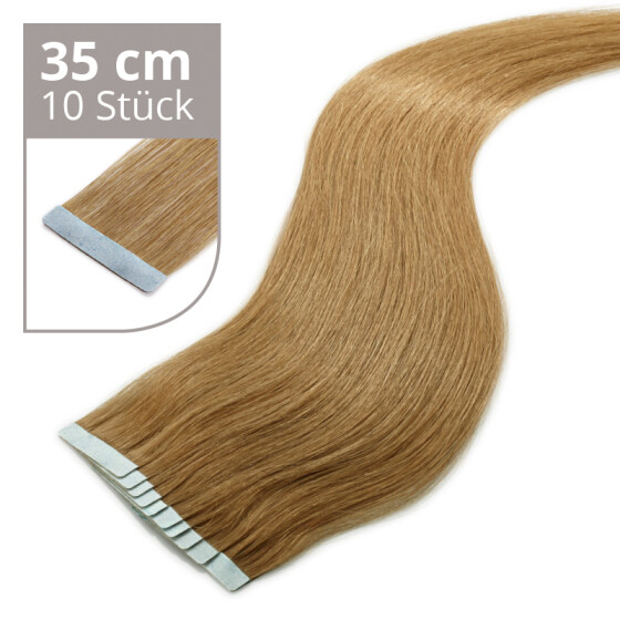 Tape On Extensions 35cm Länge SkinWeft -glatt- #8 nussbraun
