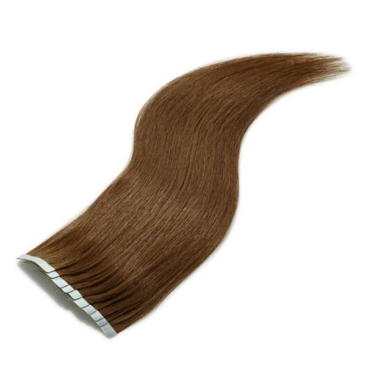 TapeOn Extensions 55cm Länge SkinWeft -glatt- #4 mittelbraun