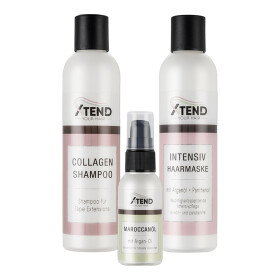 Spar-Set Xtend-your-Hair Pflegeserie für TapeOn & Microring Extensions - Shampoo - Intensiv Haarmaske -Maroccanoil