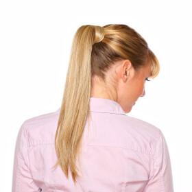 Echthaar Zopf / Zopfhaarteil Pferdeschwanz 60g - 50cm Länge - glatt #1 schwarz