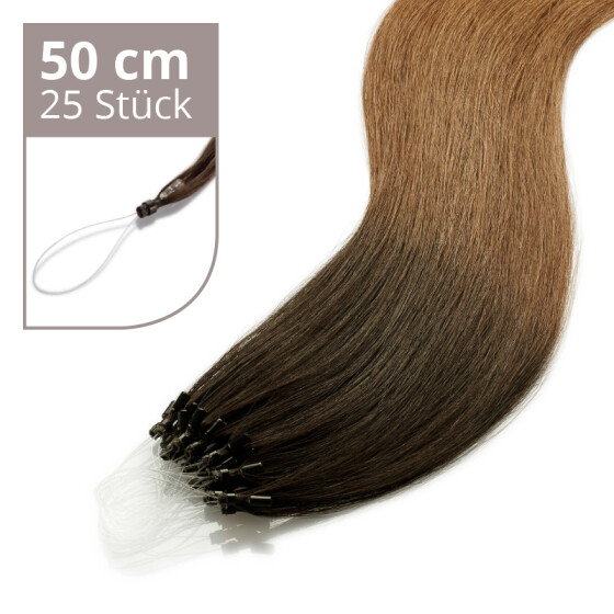 Microring Extensions - 50cm Länge - I-Tip 25 Stck. - 1g Ombre #2/#6
